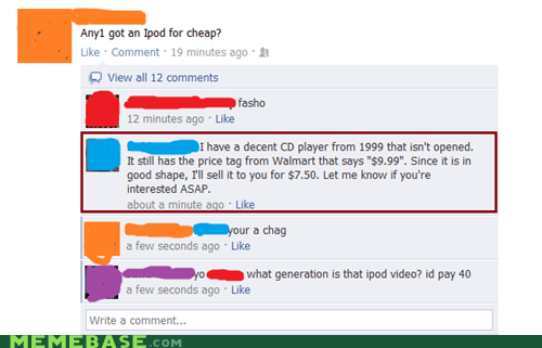 CD player,cheap,facebook,ipod