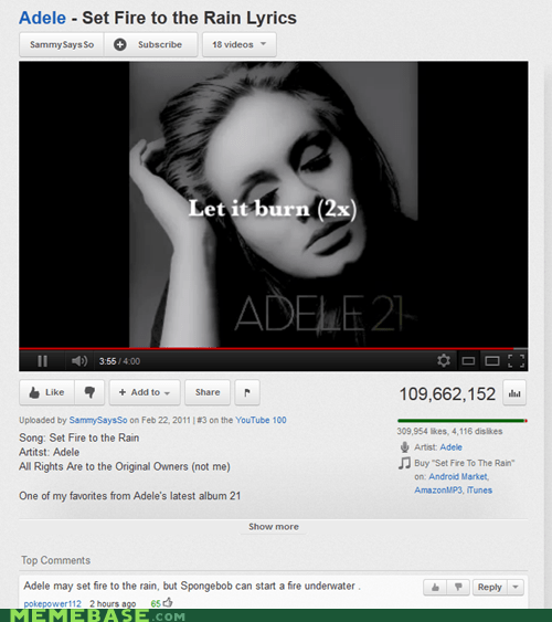 adele fire SpongeBob SquarePants youtube - 5794255104