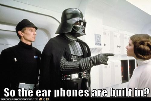 built in,carrie fisher,darth vader,ear phones,hair,lines,Princess Leia,star wars