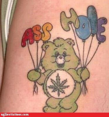 ahole,Balloons,care bears,cartoon characters,stoner care bear,Ugliest Tattoos
