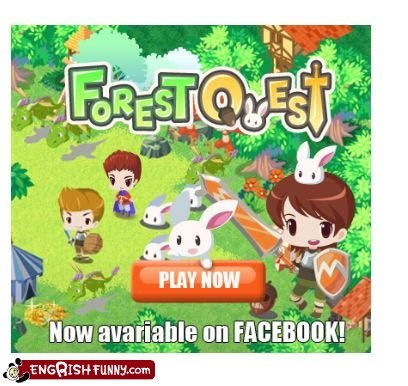 engrish,facebook,forest quest,game,play now,video game