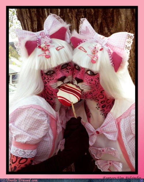 bow cat cosplay facepaint furry lolita tiger - 5796475392