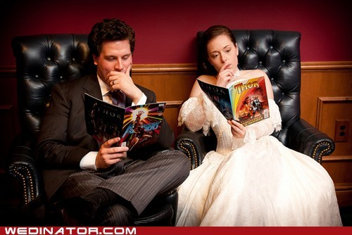 bride,comics,funny wedding photos,groom,Thor