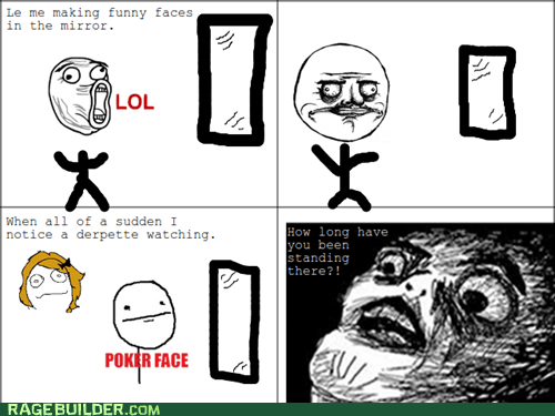 me gusta,mirror,poker face,Rage Comics,raisin face