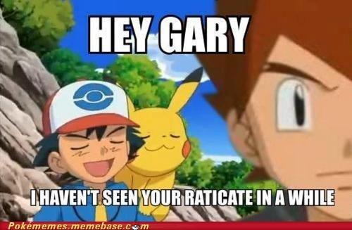 ash,gary,jerk,Memes,pikachu,raticate,smug