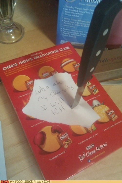 best of the week cheese cheezits crackers kill knife note threat