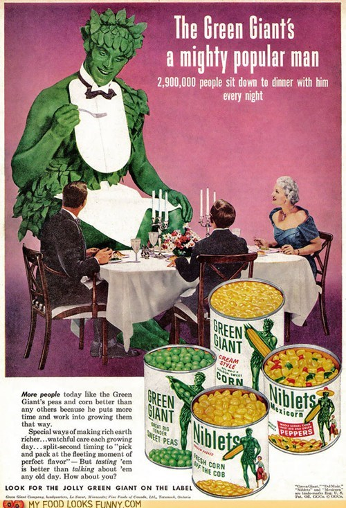 Ad,attire,dinner,jolly green giant,magazine,vegetables