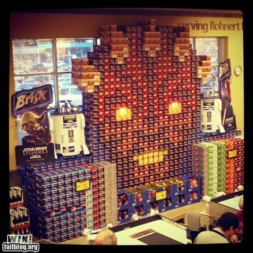 darth maul,display,grocery store,nerdgasm,soda,star wars
