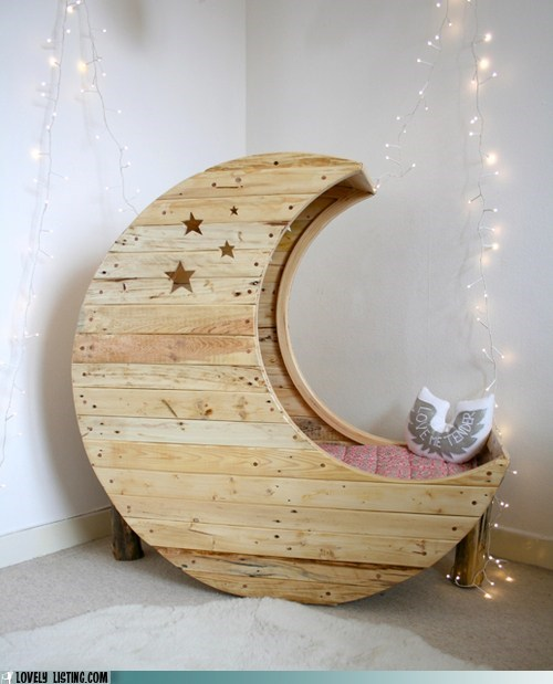 bed,cushion,moon,stars,sweet,wood