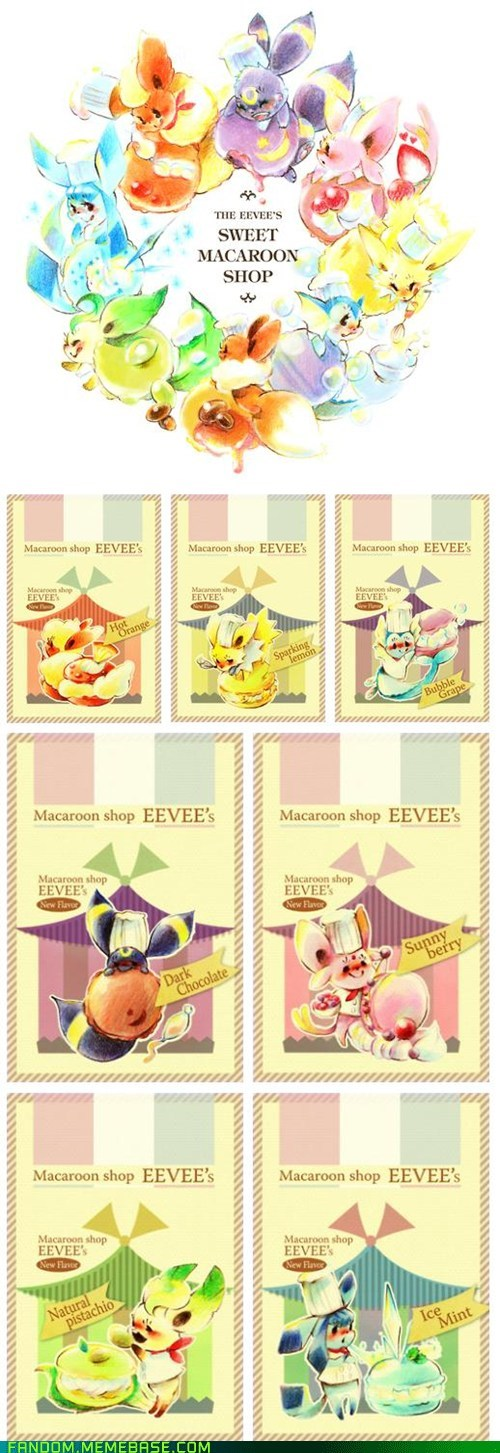 best of week,eevee,eeveelutions,Fan Art,macaroons,Pokémon
