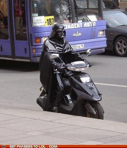 cosplay,darth vader,gas,speeder bike,street,vespa