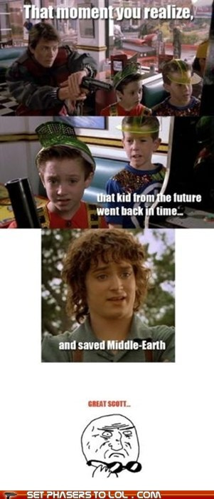 back in time,back to the future,elijah wood,Frodo Baggins,future,Lord of the Rings,michael j fox,middle earth,save,time travel