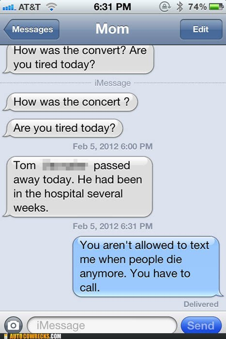Death,dying,mom,parenting,text,texting