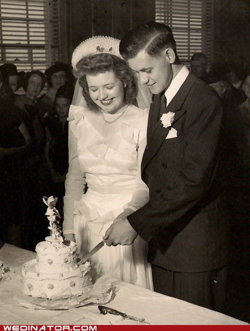 bride funny wedding photos groom Historical retro vintage world war II - 5798667776