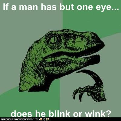 If a man has but one eye... does he blink or wink?