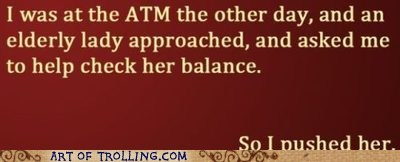 ATM,balance,old people,push
