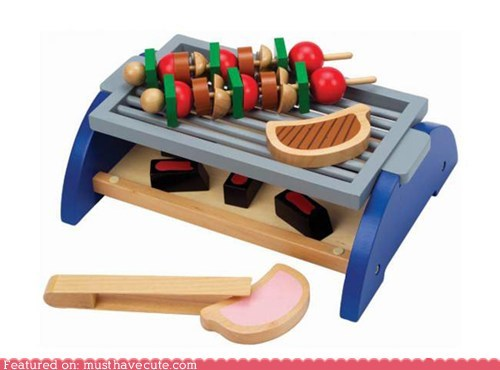 bbq food grill skewers steak toy wood - 5800802048