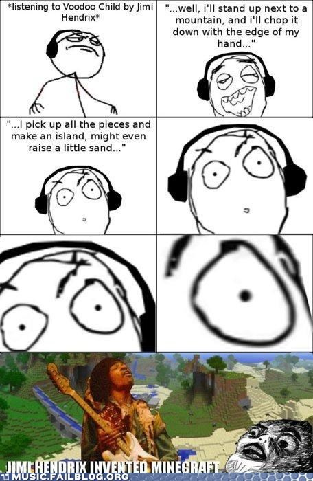 comic,jimi hendrix,minecraft,rage comic,voodoo child