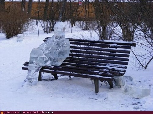 ice ice baby,ice sculpture,park bench,wtf