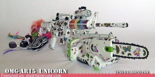 automatic girly gun sparkly unicorns weapon