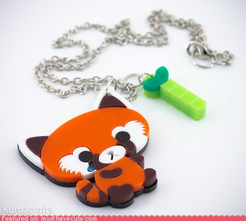 accessories,bamboo,chain,Jewelry,necklace,pendant,red panda
