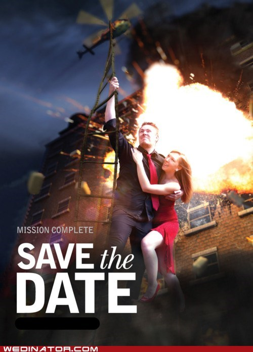 action,bride,funny wedding photos,groom,invitation,invite,save the date