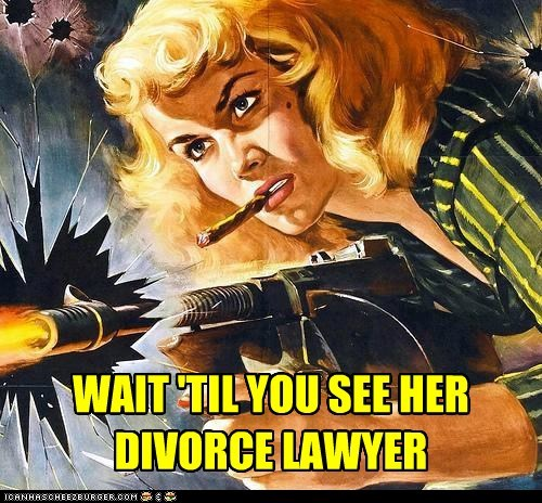 armed and dangerous,divorce,divorce lawyer,gun,historic lols,vintage,weapon,woman