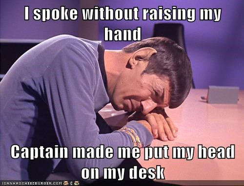 captain head Headdesk Leonard Nimoy raise hand Sad speaking Spock spoke Star Trek
