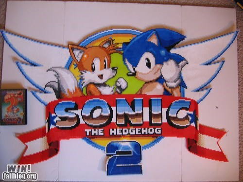 art,beads,crafts,genesis,nerdgasm,now-ill-show-you,pixel art,sega,sonic,youre-too-slow