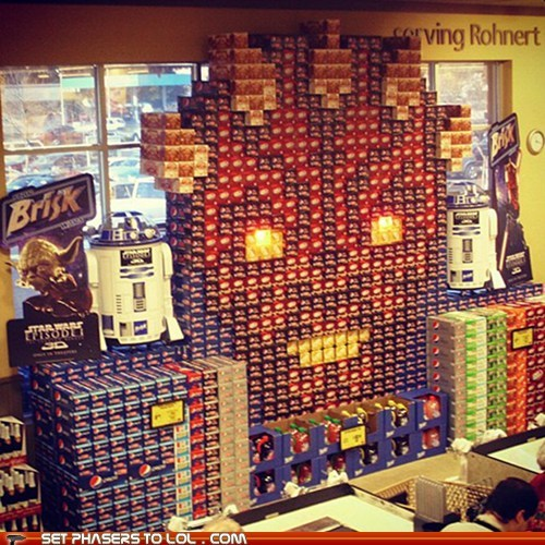 darth maul,display,grocery store,soda,star wars,the phantom menace