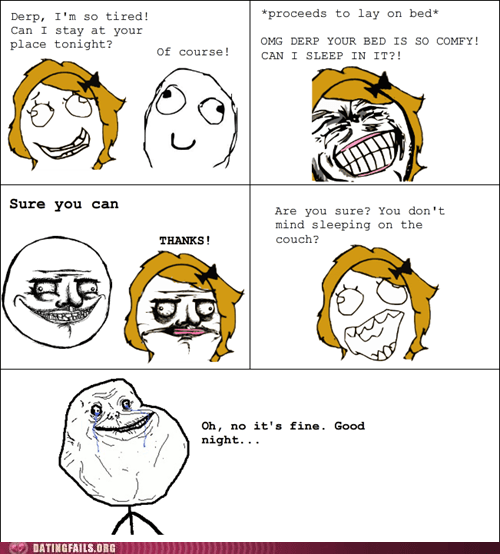 bed couch friend zone rage comic sleep over - 5802395136