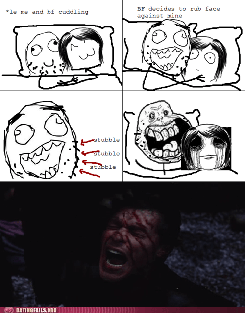 bedtime cuddling my face rage comic shave stubble - 5802396416