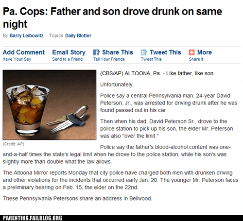 driving drunk,dui,like father like son,rough nigh