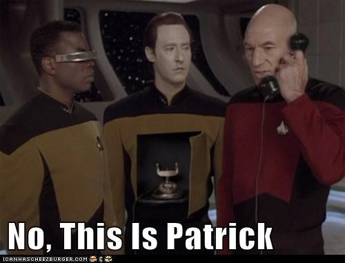 brent spiner Captain Picard data enterprise Geordi Laforge levar burton no this is patrick patrick stewart Star Trek - 5802458112
