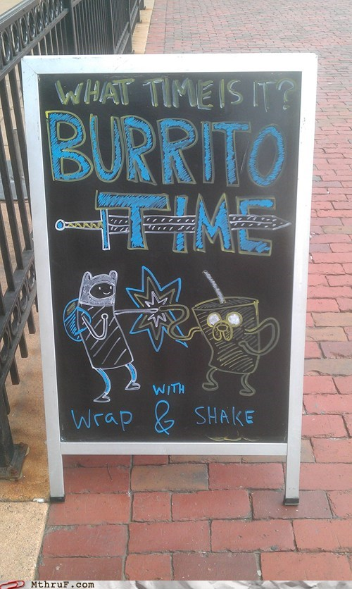 adventure time best time burrito time chalkboards