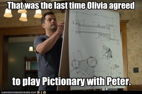 complicated,drawing,Fringe,joshua jackson,Olivia Dunham,peter bishop,pictionary