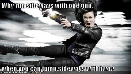 eve myles,guns,Gwen Cooper,jump,run,sideways,Torchwood