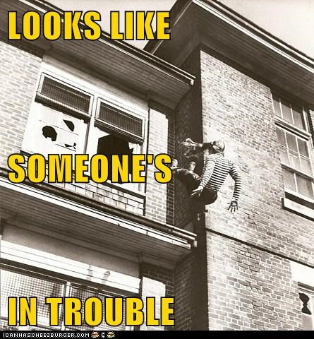 black and white historic lols in trouble thrown out of the window whoa - 5804003840