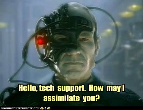 assimilate borg Captain Picard locutus Star Trek tech support