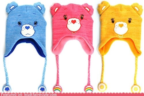 bears care bears ear flaps face hat knit smile