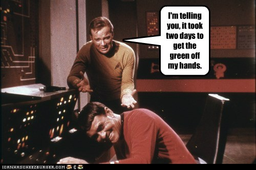 Captain Kirk green hands inapporpriate james doohan laughing scotty Shatnerday Star Trek story William Shatner