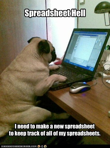 computer,laptop,pug,spreadsheet,spreadsheet hell,spreadsheets