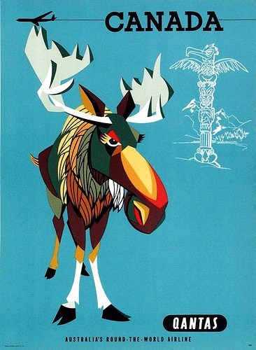 Canada getaways moose north america retro travel totem pole vintage travel - 5805769728