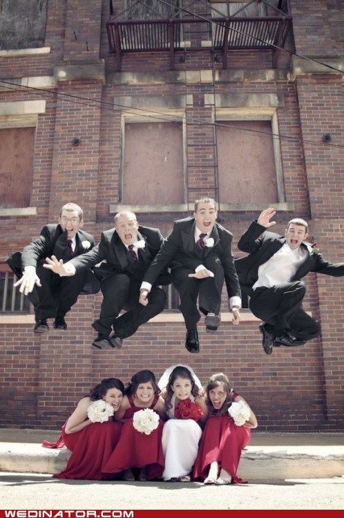 bridesmaids funny wedding photos Groomsmen jump leap - 5805993472