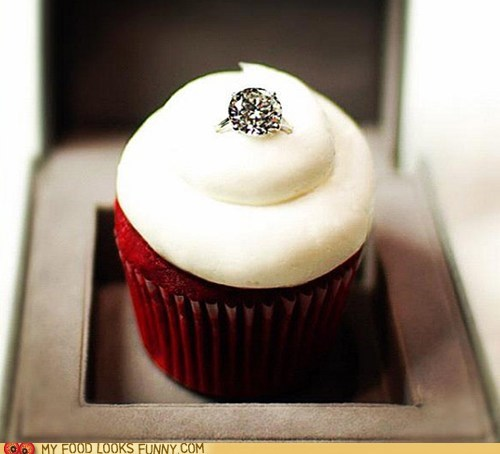 cupcake diamond engagement ring proposal red velvet Valentines day