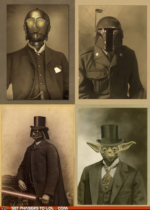 boba fett,c3p0,darth vader,photos,portraits,star wars,victorian,yoda