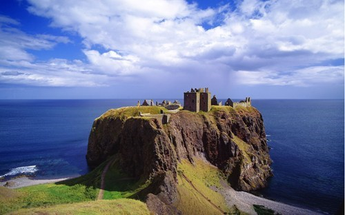 blue,britain,castle,cliff,clouds,dunnottar castle,getaways,ocean,scotland,UK,united kingdom,wallpaper,wallpaper of the day,white