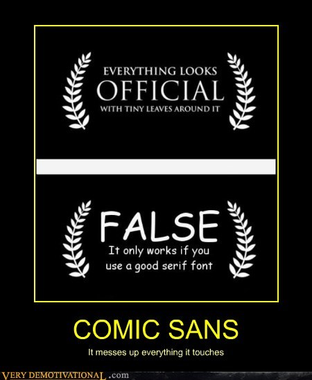 comic sans font hilarious tiny leaves wtf