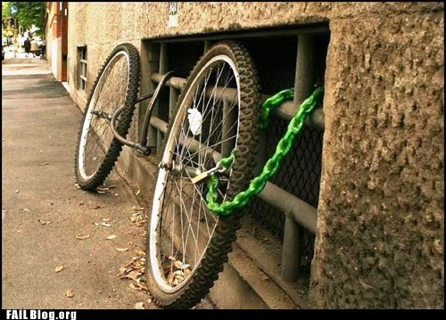 bicycle common sense locked up security