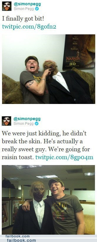 pics shawn of the dead Simon Pegg twitter win zombie